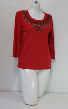 Womens Tops & Blouses Rebecca Malone Petite Red Long Sleeve Collar Design PS