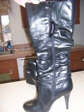 Women's NWT Black Faux Leather Knee-High Boots Sz 10  Clearance Price