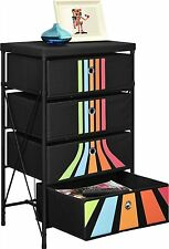 Kid Toy Organizer / Storage Drawer Furniture, Black w/Stripes (4 Bin Tier Shelf)