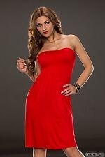 Trägerloses Bandeau Sommerkleid Kleid Dress XS S M 34 36 38 18620 Rot