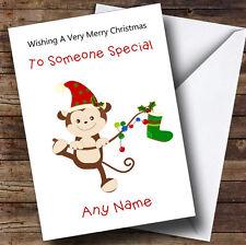 Cartoon Monkey Children's Personalised Christmas Card