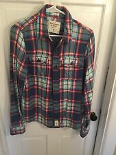 Abercrombie & Fitch Mens Muscle Fit Flannel Button Up Shirt Plaid Blue Size S