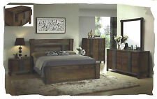 Ivan 6 Piece KING Size Antique Walnut Hardwood Bedroom Suite - BRAND NEW