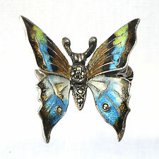 Vintage enameled sterling silver butterfly brooch or pin w' marcasites Germany