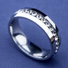 8pcs Full Top CZ Stainless Steel Womens Mens White Gold GP Rings Wholesale Lots