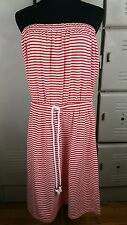 Gap The Now Dress Size Large Red White Stripe Summer Nautical Rope Belt