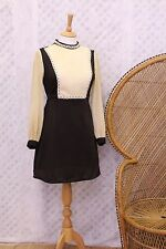 Vintage Original brown beige lace 60s mad men retro mod mini shift dress S
