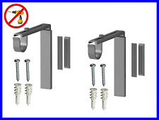 2 Sets Curtain Rod Holder Wall Ceiling Bracket SILVER Color - No Drill Needed