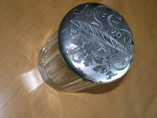 Antique Heavy Crystal Cigar Humidor Joke & Smoke & Blow Your Cares Away On LId