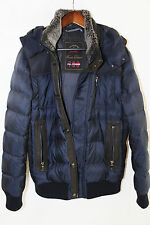 PAUL & SHARK Leather Trim Hooded Goose Down 700 Fill Bomber Jacket Size M