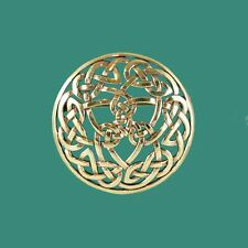 Striking Celtic Knot Brooch Pin - Solid Bronze - Looks Like Vintage Gold