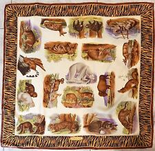 Gucci Vintage Animal 100% Silk Scarf Italy