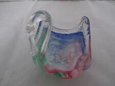 ATTRACTIVE MURANO MULTI-COLOR ART GLASS VINTAGE FREE FLOW CANDY DISH