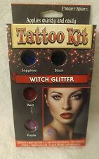 Witch Glitter Tattoo Kit with Stencils and 4 Color Body Glitters Z