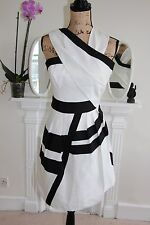 BNWOT Reiss White Black Stripes 6 8 XS Sleeveless Stripes Raina cocktail Dress