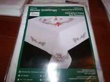 "Tobin Stamped Embroidery Tablecloth WINTER GREETINGS 58"" x 104"""