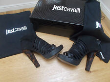 JUST CAVALLI Designer Black Leather Strappy Platform Sandals UK4 BNIB RRP £595