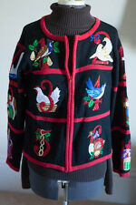 Vintage Tiara Int'l 12 Days Of Christmas Sweater Ugly Contest Party Cardigan M