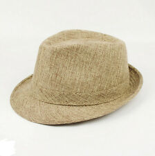 Khaki Men Women Summer Beach Hat Sun Jazz Panama Gangster Cap Trilby Fedora
