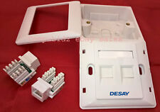 RJ45 DOUBLE SWISH FACEPLATE & 32MM BACKBOX TWIN CAT5E IDC WALL RJ45 NETWORK LAN