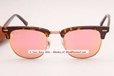 Ray-Ban Clubmaster RB3016 1145/Z2 Flash Pink Mirror Tortoise/Gold Frame 51-21