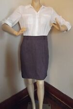 NEW YORK COMPANY 0 TWO-IN-ONE DRESS OFF-WHITE PURPLE TWEED XS blouse-skirt