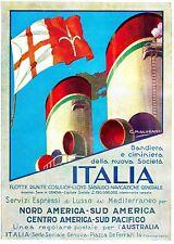 PUBBLICITA' ITALIA FLOTTE RIUNITE NAVE NUOVA BANDIERA E CIMINIERA ESPRESSI 32