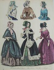 Old PRINT femme fashion chapeaux robes manteau c1844 matin robe antique Gravure