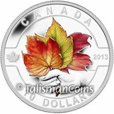 2013 Oh! Canada Series 11 Color Maple Leaf $10 Pure Silver Proof Three Leaves