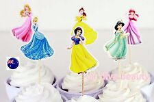 NEW 24P Disney Princess Party Cupcake Cakes Decorating Toppers Picks Flags Set