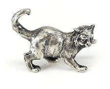 American Miniature Sterling Silver Cat Figurine Textured Pouncing Cat Design 40g