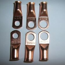 """(6) 3/8"""" 5/16"""" 1/4""""Wire Ring Terminal Copper 4 AWG Gauge Connectors Terminals"""