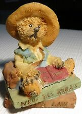 """Resin Teddy Bear Sitting on Stack of Law Books 2 3/4"""" x 2 1/4"""" Great Grad Gift"""
