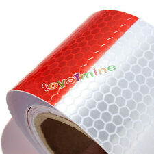 2'x10' 3m Red White Reflective Safety Warning Conspicuity Tape Film Sticker