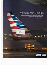 AMERICAN AIRLINES  B777-300 ER AT NIGHT WE STAND WITH ORLANDO STRONG AD