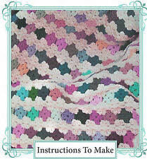 Vintage crochet pattern-how to make an easy afghan,throw,from left over yarns