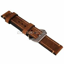 Brown 22mm Genuine Leather Watch Strap Band Wristwatch Band Replace Watchband