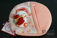 Chirimen Manekineko lucky cat cute japanese kimono crepe cosmetic case pouch bag