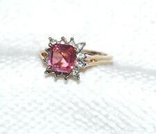 Large Pink Sapphire Cocktail Ring 14k Gold Plated Sz 6 ESPO A96