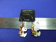 vtg snoopy bobble hat earrings enamel on card 1970s peanuts schulz unused