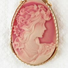 Lady Bride Shimmer Cameo Pendant 14K Rolled Gold Artisan Jewelry Pink Resin