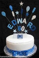 BALLOON BIRTHDAY CAKE TOPPER ANY NAME AND AGE BLUES & WHITE