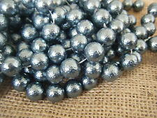 Apx 250 Glass Pearl Beads Crinkle Bubble Effect Round 12mm Hematite Dark Grey