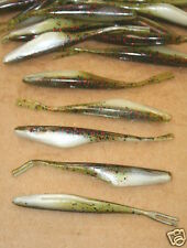 """3 3/4"""" Twitch Minnow Super Fluke Style Watermelon Red Ghost 50 pack bag worms"""