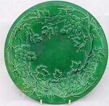 Antique Victorian Green Glazed Majolica Grape Vine Leaf & Grapes Plate c 1870
