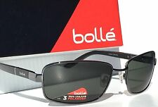 NEW* Bolle SOSKO Gunmetal Matte BLACK Satin Grey Polarized Sunglass 11875 $190