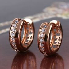 Women Rose Gold Filled Charming Earrings Hollow Hoop Huggie Fashion Jewelry