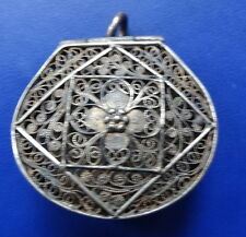 antique Edwardian SILVER gilt filigree flower pomander locket pendant -C886