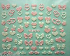 VALENTINES Nail Art Stickers Decals Pink and White Bows Hearts Decoraation (637)
