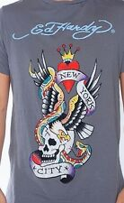 NEW Ed Hardy Men's Rhinestone Short Sleeve Tee - NYC - Charcoal Color - Size L